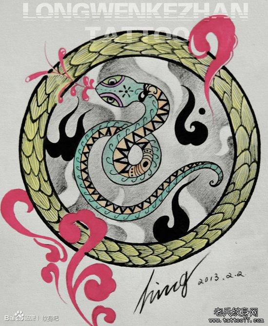 蛇圆形图腾纹身手稿分享展示