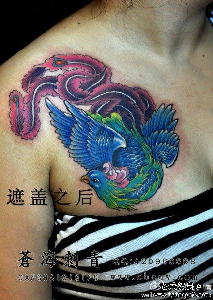 女生胸前经典的传统彩色凤凰纹身图案图片