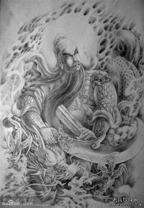 一款男人喜欢的霸气的满背关公纹身手稿