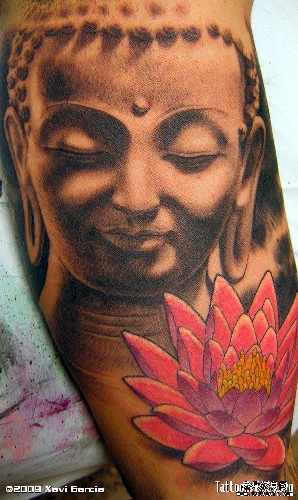 分享一款佛头莲花纹身图案