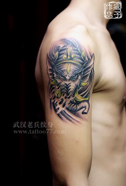 象神包小臂纹身手稿_象神包小臂纹身手稿分享展示