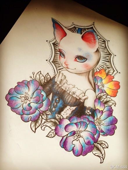 一款可爱时尚的猫咪纹身手稿
