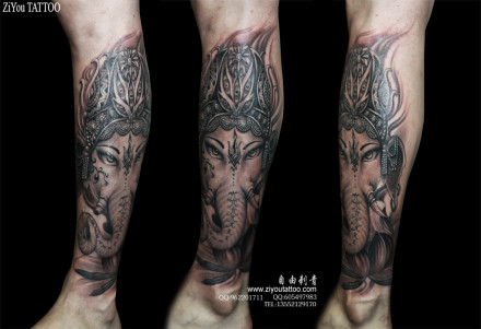 的象神纹身图案;