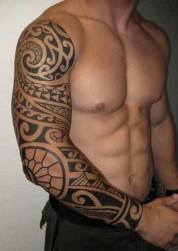 男人超霸气的图腾花臂纹身图案图片