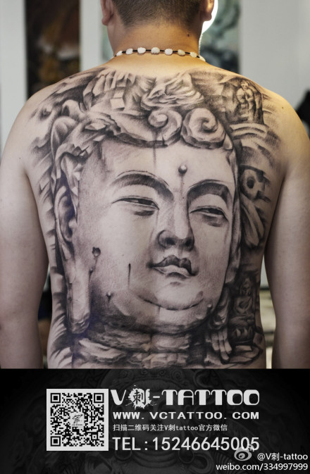 男生后背很酷超帅的满背石雕佛头纹身图案图片