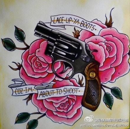 瑰与手枪纹身手稿