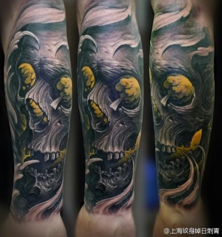 手臂一款超酷的骷髅纹身图案_老兵武汉纹身店高清图片