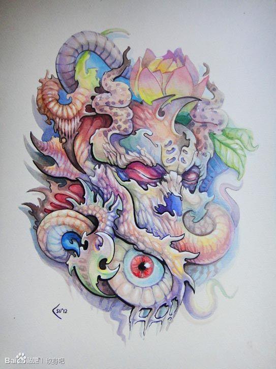 一款很酷精美的欧美彩色骷髅纹身图案