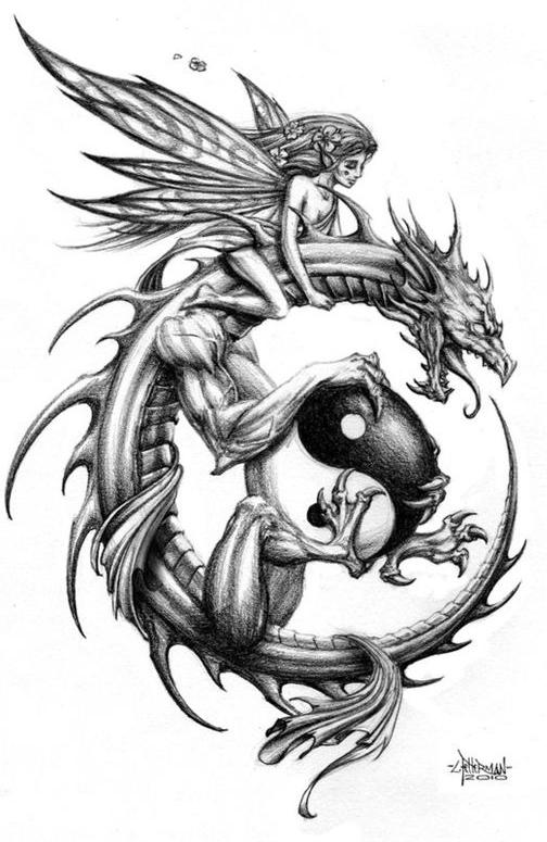 一款很帅的龙与精灵纹身图案