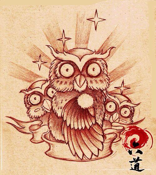 一款呆呆萌的猫头鹰纹身手稿