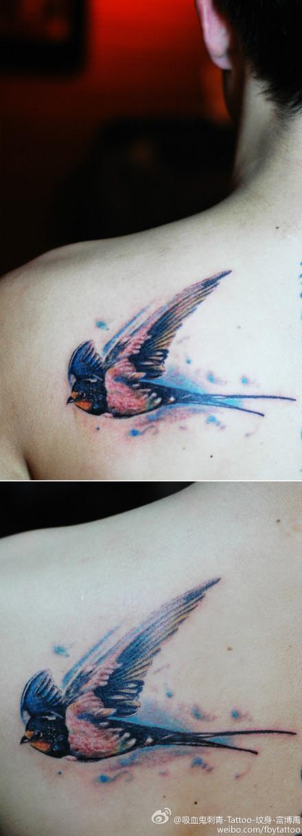 男生肩背时尚经典的小燕子纹身图案