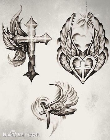 潮流经典的一组十字架翅膀纹身手稿