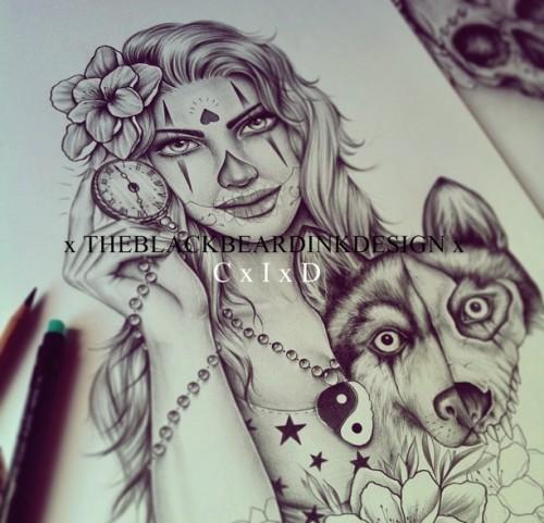 暗黑个性手绘纹身
