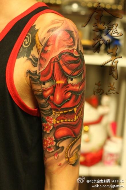背部一款般若龙纹身图案图片