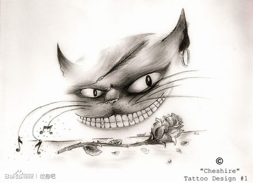 三角眼猫咪纹身手稿图案