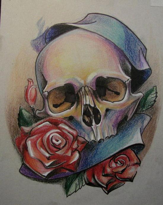 欧美唯美背部鹿角纹身手稿展示图片