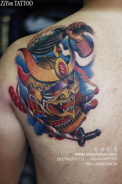 武士 铠甲 纹身 图案 日本 和风 铠甲 武士 挂 旗