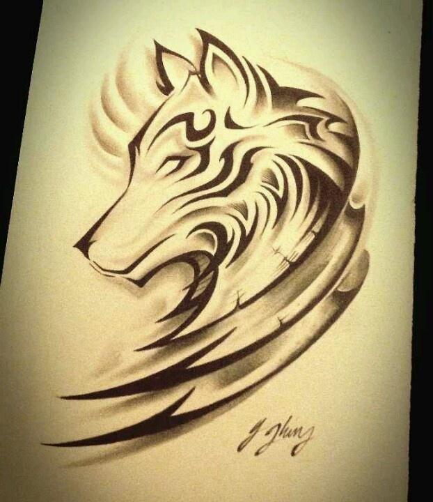推荐一款时尚的水墨狼头纹身图案