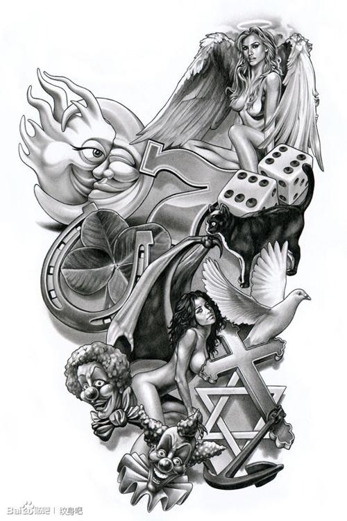 一款潮流性感的天使纹身手稿