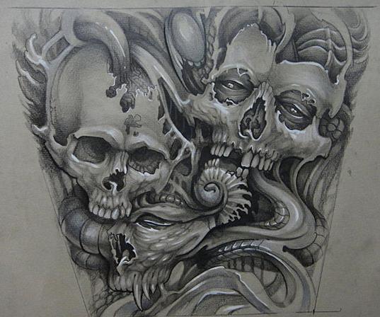 一款霸气很酷的满背骷髅纹身手稿