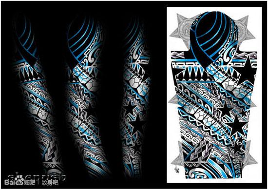 花臂图腾纹身图案巨黑半花臂图腾纹身玛雅图腾花