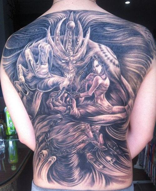 男人后背超酷霸气的满背恶魔纹身图案