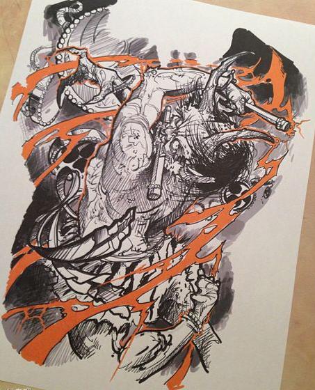 超酷霸气的满背雷神纹身手稿