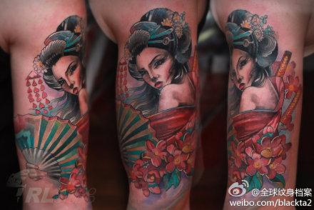 手臂潮流漂亮的美女艺妓纹身图案图片