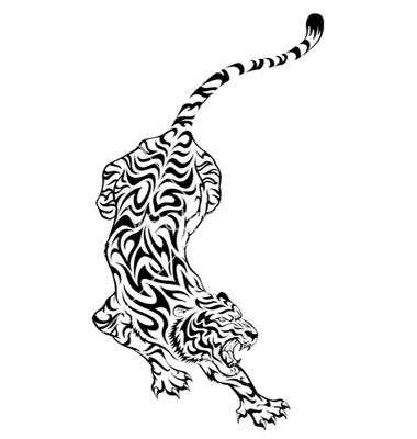 一款超霸气的满背老虎纹身手稿