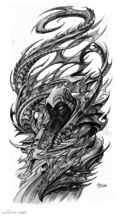 一款时尚很酷的欧美巫师纹身手稿