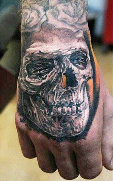 一款霸气时尚的手背骷髅纹身图案