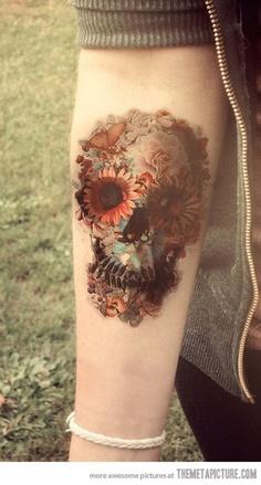 分享一款潮流个性的小腿骷髅头纹身图案