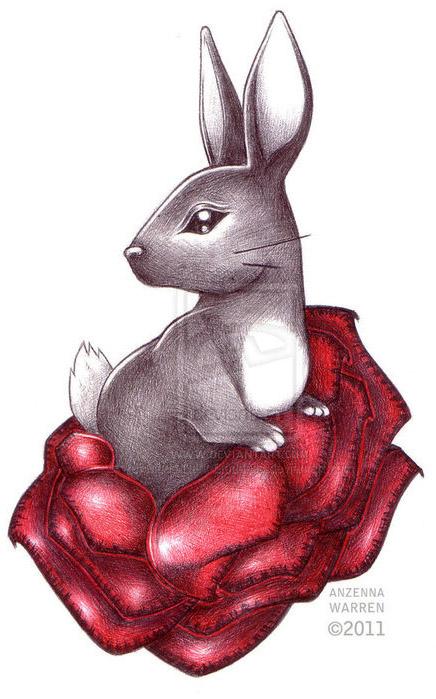 时尚可爱的兔子纹身手稿