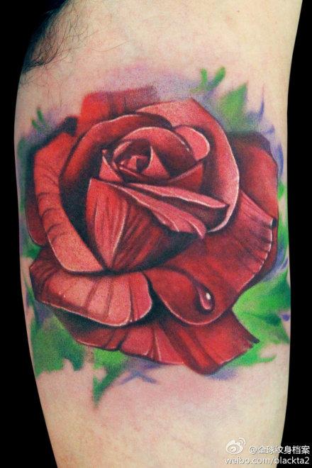 手臂小巧写实的玫瑰花纹身