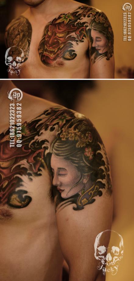 一款经典漂亮的半胛般若与艺妓纹身图案图片
