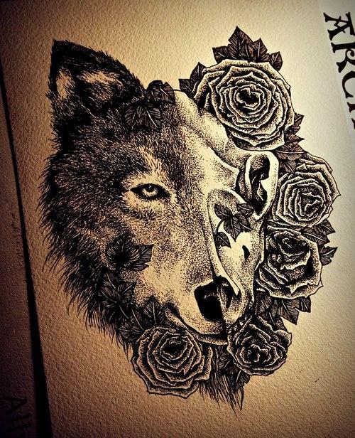 狼头头纹身手稿分享展示
