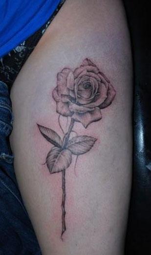 灰玫瑰花纹身图案