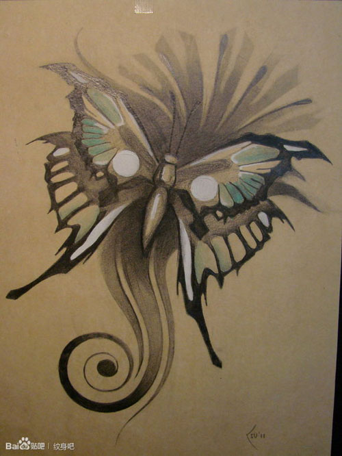3d蝴蝶纹身手稿分享展示