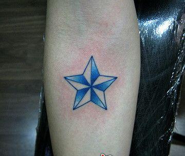 分享一款个性的小清晰五角星纹身图案