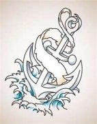 船锚手稿纹身图案