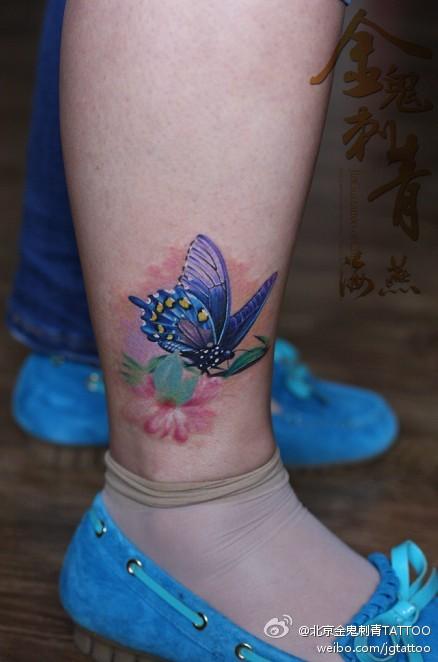 腿部纹身图案:腿部图腾蝴蝶纹身