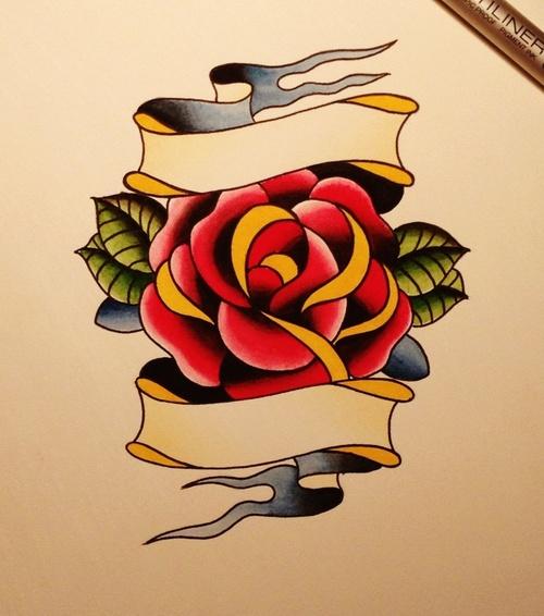一款玫瑰花手稿纹身图案