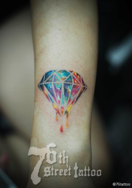 女生手臂精美的彩色星空钻石纹身图案