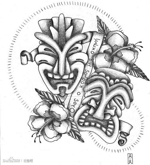 一款另类经典的哭笑脸面具纹身图案
