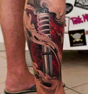 的小腿机械纹身图案