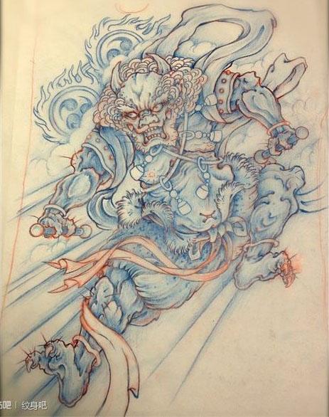 超帅的一款雷神纹身手稿