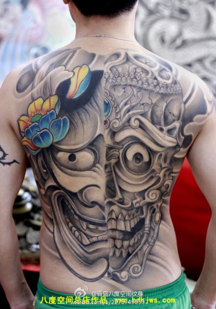 超酷帅气的满背般若嘎巴拉纹身图案