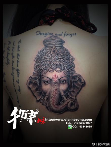 满背象神纹身_象神纹身图案图片