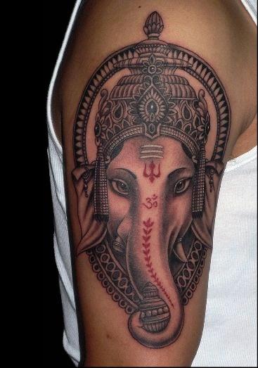 推荐一款男人时尚经典的大臂象神纹身图案