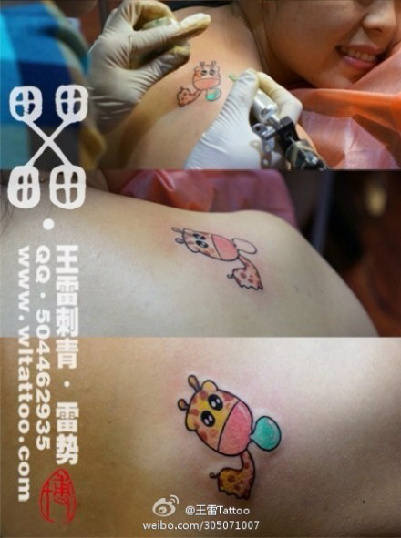 女生肩背很可爱的小鹿纹身图案